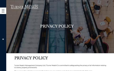 Screenshot of Privacy Page turnermeakin.com - PRIVACY POLICY - Turner Meakin - captured May 29, 2019