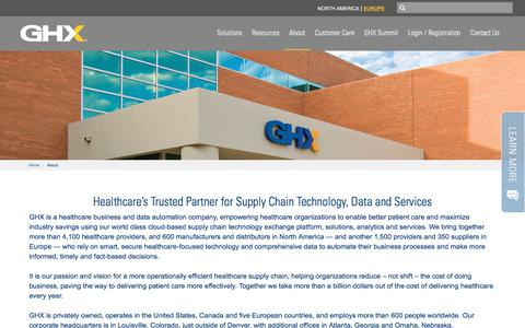 Screenshot of About Page ghx.com - About | GHX - captured Sept. 25, 2018