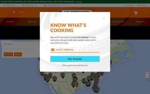 Screenshot of Maps & Directions Page lecreuset.com - Store Locations / Le Creuset | Cookware, Bakeware, Pots, Pans, Kitchen & Bar Tools | Le Creuset - captured Dec. 8, 2015