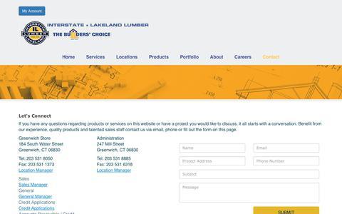 Screenshot of Contact Page interstatelumber.com - Interstate + Lakeland Lumber - Contact Us - captured Feb. 13, 2019