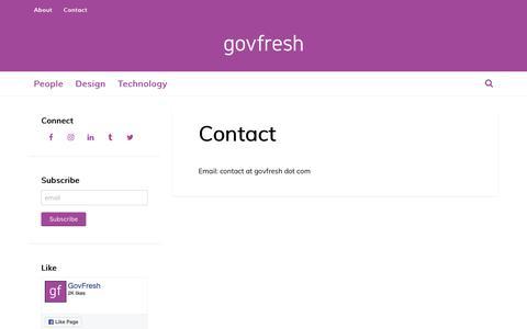 Screenshot of Contact Page govfresh.com - Contact - GovFresh - captured July 22, 2018