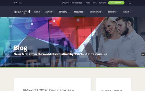 Screenshot of Blog xangati.com - Xangati's Blog - Virtualization & Hybrid-Cloud Infrastructure - captured Sept. 3, 2016