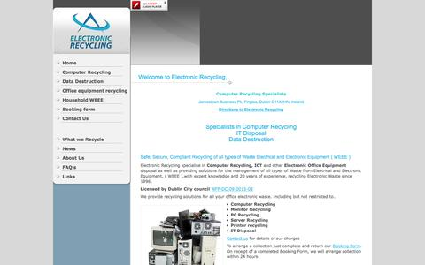 Screenshot of Home Page electronic-recycling.ie - Electronic Recycling, Computer Recycling SpecialistsComputer Recycling | Computer Recycling – Data Destruction – hard Drive Shredding - captured May 15, 2017