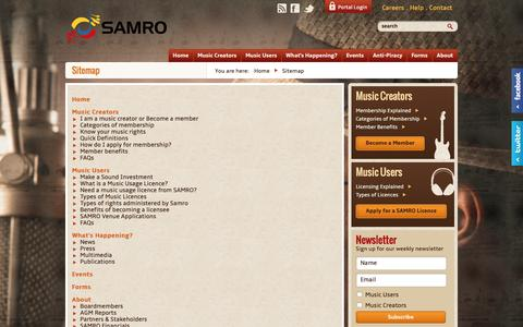 Screenshot of Site Map Page samro.org.za - Sitemap | SAMRO - captured Dec. 19, 2015