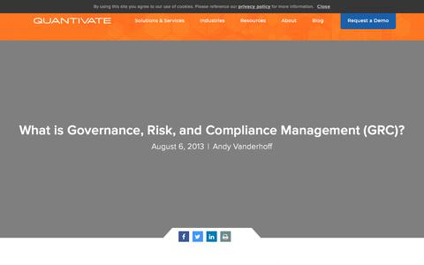 Screenshot of Team Page quantivate.com - What is Governance, Risk, and Compliance Management (GRC)? | Quantivate - captured Dec. 3, 2019