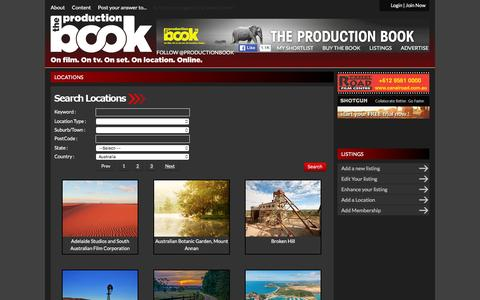 Screenshot of Locations Page productionbook.com.au - The ProductionBook - captured Feb. 15, 2016