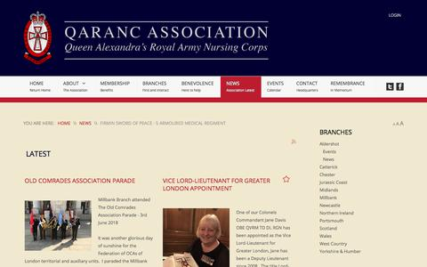 Screenshot of Press Page qarancassociation.org.uk - The QARANC Association - Latest - captured June 27, 2018