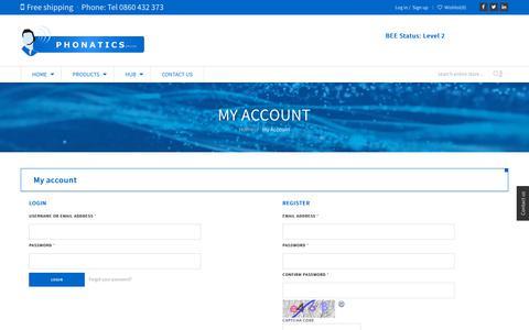 Screenshot of Signup Page Login Page phonatics.co.za - PhonaticsMy Account | Phonatics - captured Sept. 28, 2018