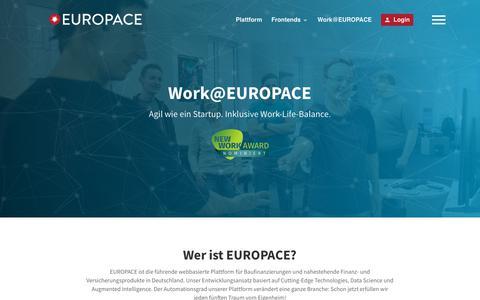 Screenshot of Jobs Page Team Page europace.de - Work@EUROPACE - EUROPACE AG - captured Feb. 14, 2018