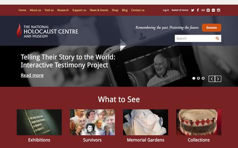 Screenshot of Home Page nationalholocaustcentre.net - The National Holocaust Centre and Museum | Home - captured March 3, 2016