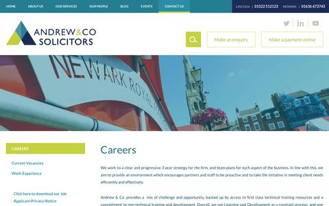 Screenshot of Jobs Page andrew-solicitors.co.uk - Careers - Andrew & Co Solicitors - captured Nov. 12, 2018