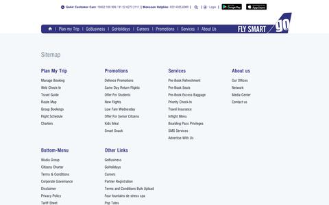 Screenshot of Site Map Page goair.in - GoAir - Sitemap - captured July 21, 2018