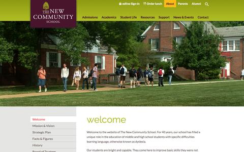 Screenshot of About Page tncs.org - Welcome - The New Community School - captured Nov. 5, 2014