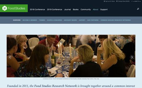 Screenshot of About Page food-studies.com - About | Food Studies Research Network - captured Oct. 21, 2018