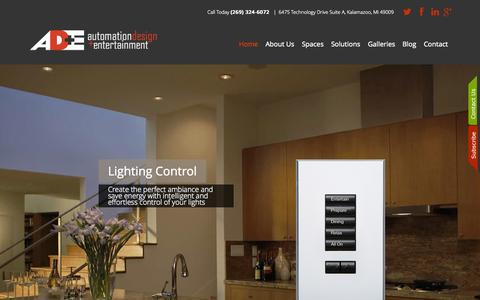 Screenshot of Home Page automation-design.com - Automation Design + Entertainment: Home and Commercial Automation servicing Michigan - (269) 324-6072 - captured Sept. 14, 2015