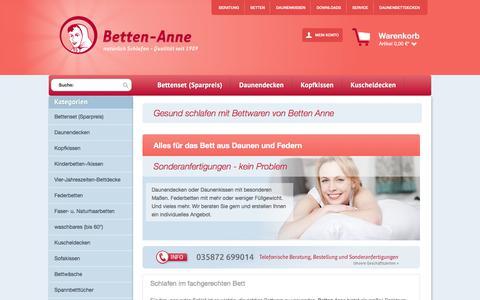 Screenshot of Home Page betten-anne.de - Betten Anne - Der Komfort für die Nacht - captured June 1, 2017