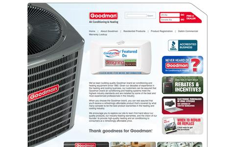 Screenshot of Home Page goodmanmfg.com - Air Conditioning Units & Heating Systems | Goodman® Manufacturing - captured Sept. 19, 2014