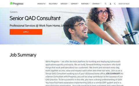 Screenshot of Jobs Page progress.com - Senior QAD Consultant, Professional Services @ Work from Home, United States - Progress Careers - captured July 17, 2019