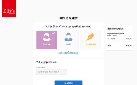 Screenshot of Signup Page ellyschoice.nl - Kies je pakket - Elly's Choice - captured Dec. 26, 2016