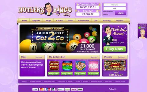 Screenshot of Home Page butlersbingo.com - Online Bingo Site Butlers Bingo - Play Online Bingo on a Silver Platter - captured Jan. 8, 2016