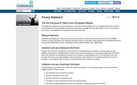 Screenshot of Privacy Page ictu.ie - Privacy Statement » Congress - Irish Congress of Trade Unions - captured Oct. 6, 2014