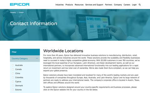 Screenshot of Contact Page epicor.com - Contact Information | Worldwide Locations | Epicor - captured Aug. 22, 2019