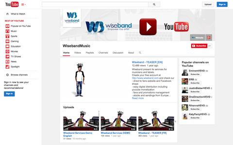 Screenshot of YouTube Page youtube.com - WisebandMusic  - YouTube - captured Oct. 26, 2014