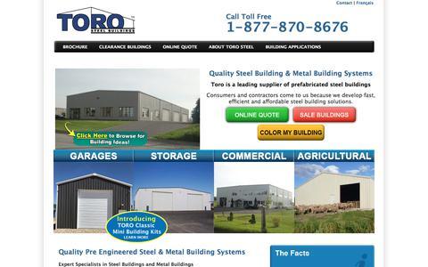Screenshot of Home Page torosteelbuildings.com - Pre Engineered Steel & Metal Building Canada | Toro Steel Buildings - captured July 11, 2019