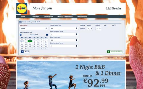 Screenshot of Home Page lidl-breaks.ie - Ireland Hotels | Hotels In Ireland | Hotel Ireland | Hotel Breaks Ireland | Lidl-Breaks - captured Jan. 3, 2017