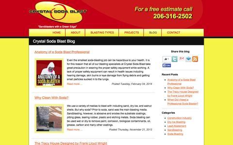 Screenshot of Blog crystalsodablast.com - Crystal Soda Blast Blog | Crystal Soda Blast - captured Oct. 3, 2014