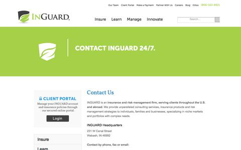 Screenshot of Contact Page inguard.com - Contact - captured March 20, 2018