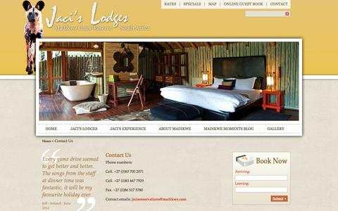 Screenshot of Contact Page madikwe.com - Contact Details, Address, Telephone & Email | Jaci's Lodges contact details	 – Jaci's Lodges | Madikwe Game Lodge | Madikwe Reserve - captured Sept. 23, 2014