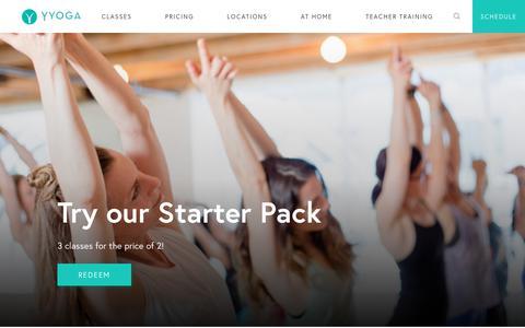 Screenshot of Home Page yyoga.ca - YYOGA | Yoga, Fitness, Meditation & Signature Classes - YYOGA - captured July 5, 2019