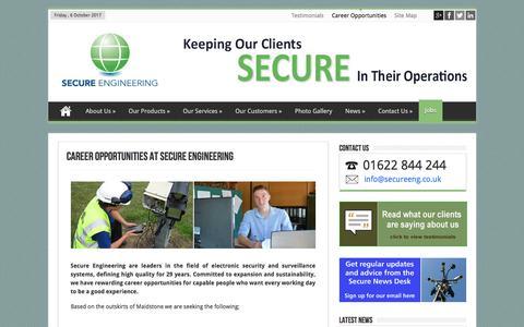 Screenshot of Jobs Page secureeng.co.uk - Career Opportunities   Secure Engineering - captured Oct. 6, 2017