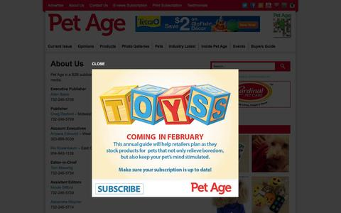 Screenshot of About Page petage.com - About Us | Pet Age - captured Dec. 8, 2015