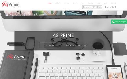Screenshot of Home Page ag-prime.com - AG Prime - captured July 23, 2016