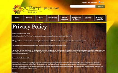 Screenshot of Privacy Page perrifarms.com - Privacy - captured Nov. 2, 2014