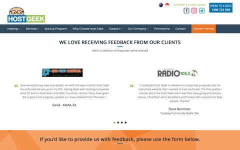 Screenshot of Testimonials Page hostgeek.com.au - Testimonials - Host Geek - captured July 16, 2018