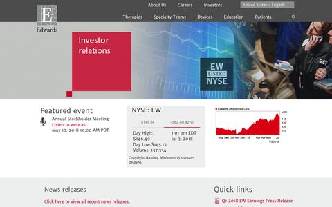 Investor Relations   Edwards Lifesciences Corporation