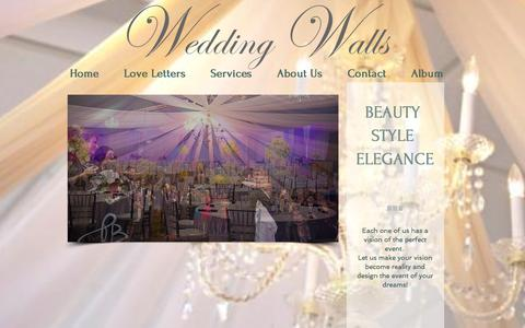 Screenshot of Home Page weddingwalls.com - Wedding Walls | Event Design & Decor - captured Jan. 27, 2015