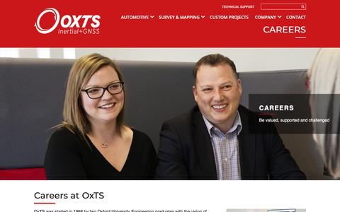 Screenshot of Jobs Page oxts.com - Careers - OxTS - captured Oct. 1, 2018