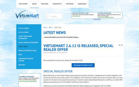 Screenshot of Press Page virtuemart.net - Latest News - captured Oct. 26, 2014