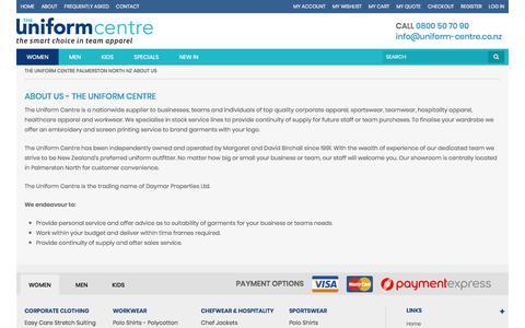 Screenshot of About Page uniform-centre.co.nz - The Uniform Centre Palmerston North NZ About Us - captured June 30, 2018