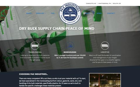 Screenshot of Home Page paxind.com - Pax Industries - captured June 18, 2015