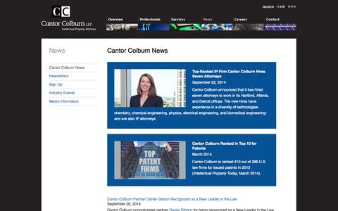 Screenshot of Press Page cantorcolburn.com - Cantor Colburn News: Intellectual Property Law Firm, Attorneys, Lawyers - Cantor Colburn - captured Oct. 1, 2014