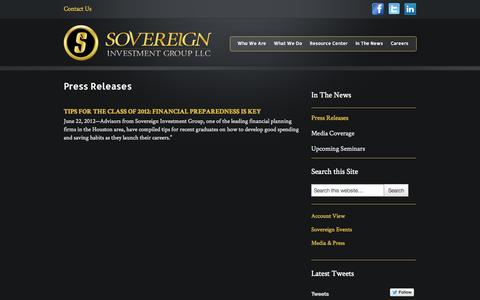 Screenshot of Press Page sovereigngrp.com - Press Releases | Sovereign Investment Group LLC - captured Oct. 6, 2014