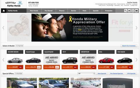 Screenshot of Home Page Contact Page Menu Page Hours Page fairfaxhonda.com - Rosenthal Honda Fairfax- Alexandria- Arlington- Tysons Corner- Chantilly- Reston- Virginia- Washington DC - captured Sept. 23, 2014