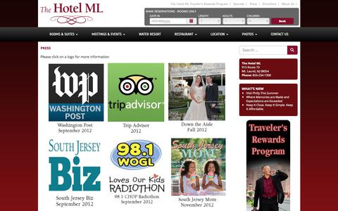 Screenshot of Press Page thehotelml.com - The Hotel ML  Press - captured June 15, 2017