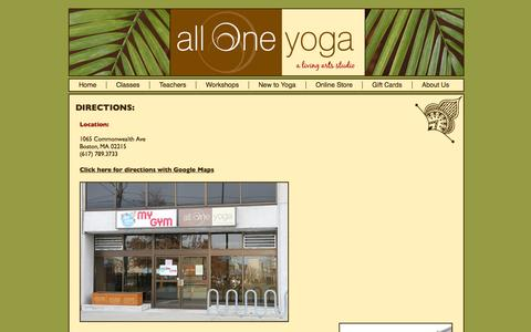 Screenshot of Maps & Directions Page alloneyogaboston.com - All One Yoga: Directions - captured Oct. 4, 2014