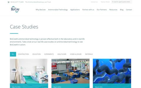 Screenshot of Case Studies Page biocote.com - Case Studies Archive - BioCote - captured Oct. 10, 2017